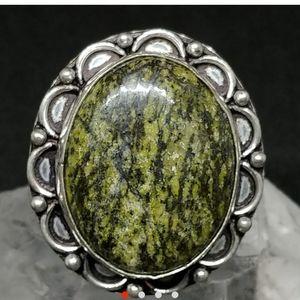 Green Zebra Jasper Silver Ring size 9.5
